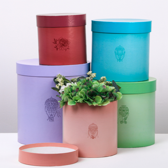 Набор круглых подарочных коробок 5 в 1«Жемчуг»,15 × 15 × 15 - 23 × 23 × 25 см
