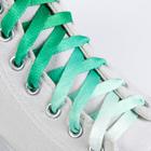 Шнурки для обуви «Амбре», пара, плоские, 8 мм, 100 см, цвет зелёный/белый