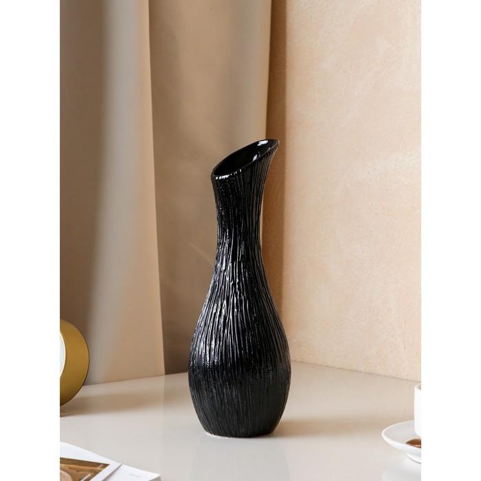 """Ваза настольная """"Лиза"""" черная, 32 см, керамика"""