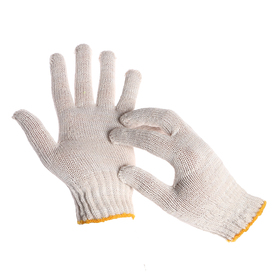 Перчатки, х/б, вязка 7 класс, 4 нити, размер 9, без покрытия, белые Ош
