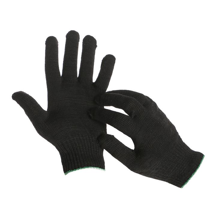 Перчатки, х/б, вязка 10 класс, 6 нитей, размер 9, без покрытия, чёрные