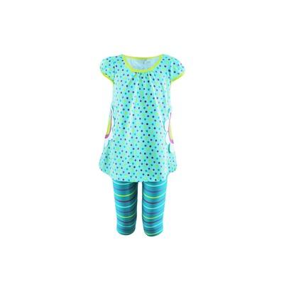 Комплект для девочки (платье, лосины), цвет ментол/горох, рост 92 см
