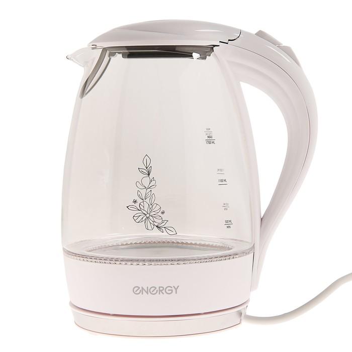 Чайник электрический ENERGY E-262, 2200 Вт, 1.7 л, стекло, белый