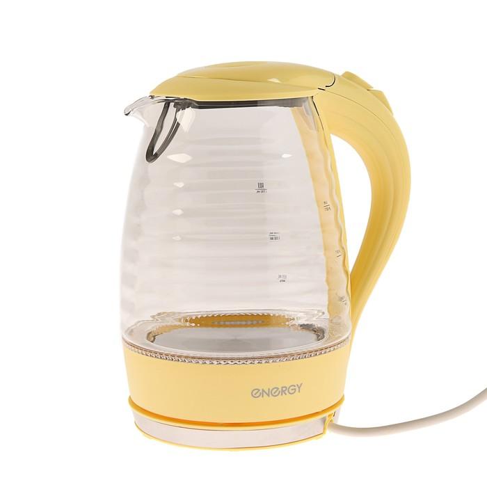Чайник электрический ENERGY E-283, 2200 Вт, 1.7 л, стекло, желтый