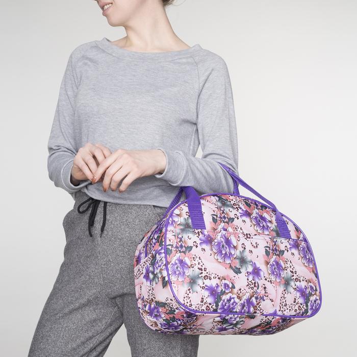 Сумка дорожная, отдел на молнии, наружный карман, цвет фиолетовый