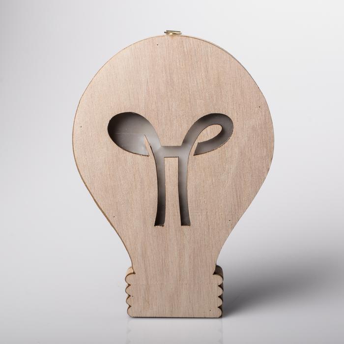 Светильник деревянный «Лампочка», 13 × 18.7 см 4066299