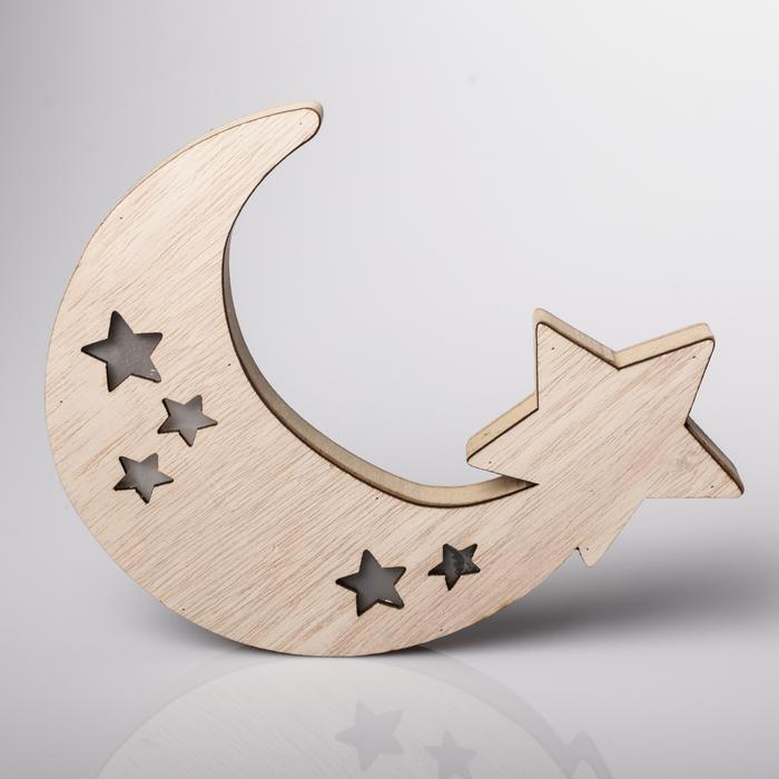 Светильник деревянный «Месяц», 19.5 × 18.2 см 4066301