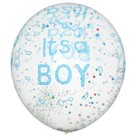 """Шар латексный 12"""" """"С рождением мальчика"""", пенопласт, набор 5 шт, прозрачный - фото 460983"""