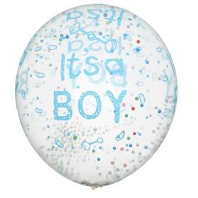 """Шар латексный 12"""" """"С рождением мальчика"""", пенопласт, набор 5 шт, прозрачный"""