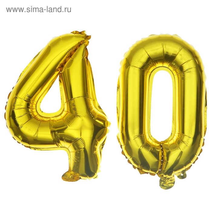 """Foil balloon 16"""" """"40 years"""", color: Golden"""