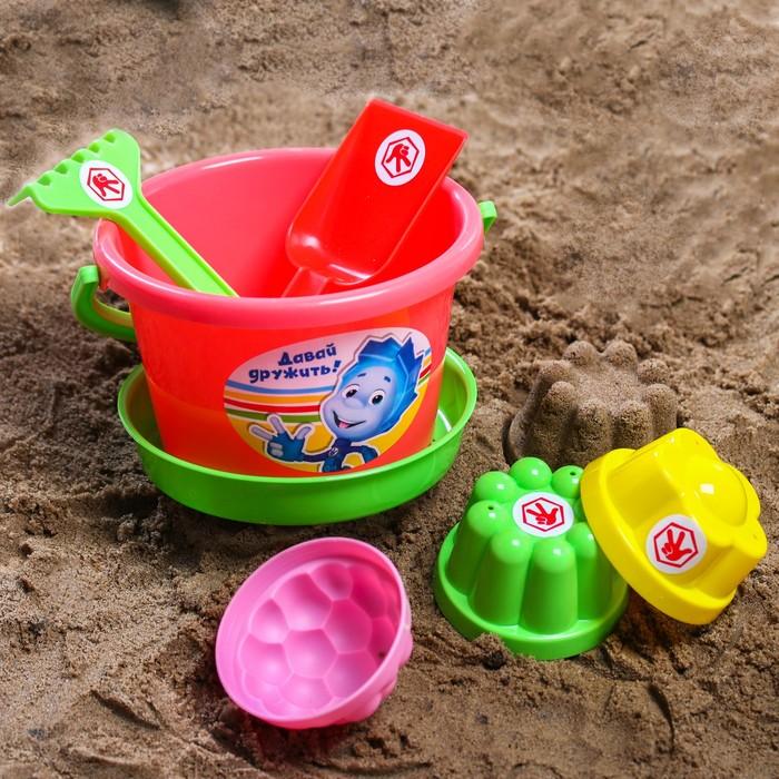 Набор для игры в песке: ведро, сетка, лопата, грабли, 3 формочки, ФИКСИКИ цвет МИКС, 1,05 л