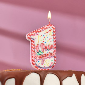 "Свеча для торта цифра ""1"", ГИГАНТ"