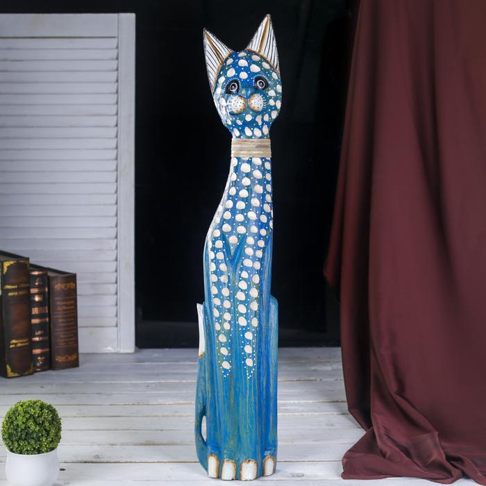 """Сувенир дерево """"Синяя пятнистая кошка"""" 6х13х80 см"""
