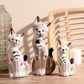 """Gift set wood """"white Cats"""" (15,20,25) 15х8х25 cm"""