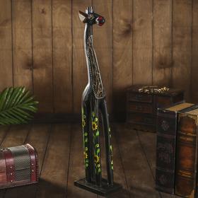 """Сувенир дерево """"Жираф с цветами"""" 9х12х60 см"""