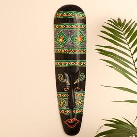 Маска настенная дерево 'Абориген с ярким орнаментом' 3х12х50 см Ош
