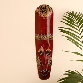 "Маска настенная дерево ""Абориген коричневый с золотистым узором"" 3х12х50 см"