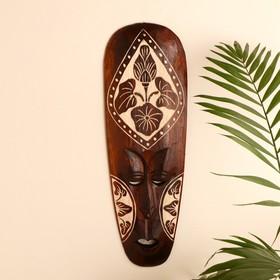 "Маска настенная дерево ""Абориген коричневый с цветком"" 3х18х50 см"