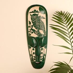"""Маска настенная дерево """"Абориген зеленый с совой и деревьями"""" 3х18х50 см"""