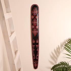 """Маска настенная дерево """"Абориген черный с красными цветами"""" 3х12х100 см"""