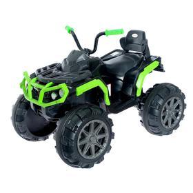 Электромобиль «Квадроцикл», 2 мотора, цвет зелёный, без радиоуправления, уценка (скол на левом крыле, трещины, царапины)
