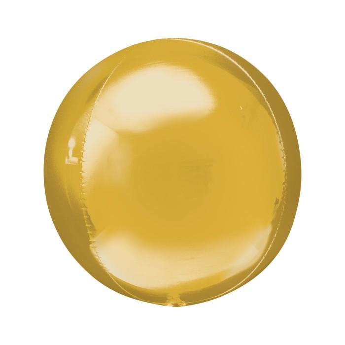 """Шар фольгированный 21"""" 3D-сфера, цвет золотой"""