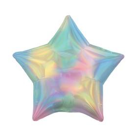 """Шар фольгированный 19"""" «Блеск», звезда, пастель, разноцветные переливы"""