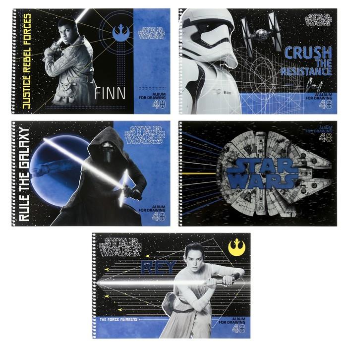Альбом для рисования А4, 40 листов на гребне «Звёздные войны», обложка мелованный картон, МИКС - фото 554512671