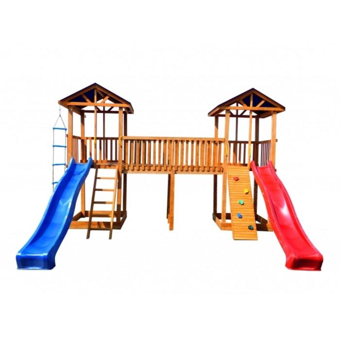Детская площадка Можга Спортивный городок 6 (Крыша Тент)с узким скалодромом