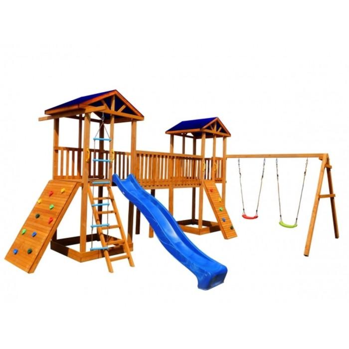 Детская площадка Можга Спортивный городок 7 (Крыша Тент)с качелями и широким скалодромом