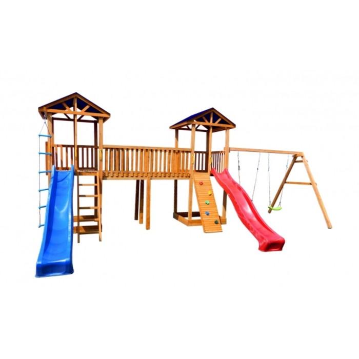 Детская площадка Можга Спортивный городок 6(Крыша Тент) с качелями и узким скалодромом
