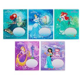Тетрадь 12 листов в клетку «Принцессы DISNEY», обложка мелованный картон, глиттер, МИКС