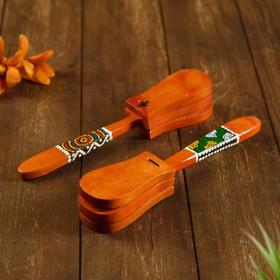 """Музыкальный инструмент дерево """"Кастаньет с узором"""" 4x5x23 см в Донецке"""
