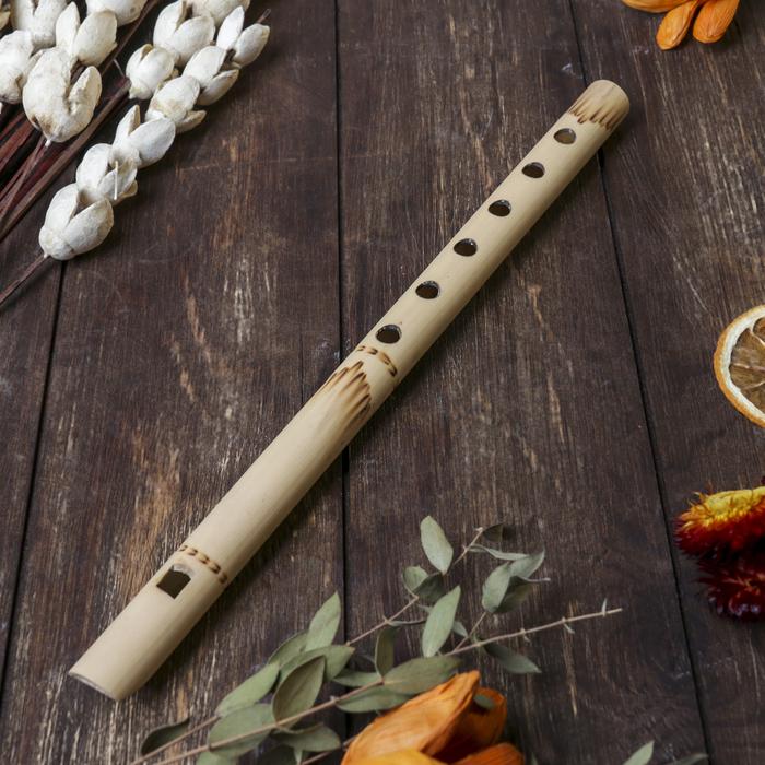 """Музыкальный инструмент бамбук """"Флейта светлая"""" 30x1,8x1,8 см"""