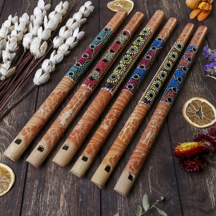 """Музыкальный инструмент бамбук """"Флейта Этнический орнамент"""" 35x2,5x2,5 см"""