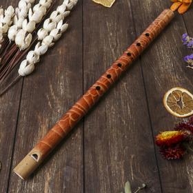 """Музыкальный инструмент бамбук """"Флейта с узором"""" 40x2,5x2,5 см"""