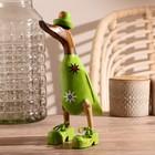 """Сувенир дерево """"Утка в зеленой одежде с принтом"""" 13х9х27 см"""