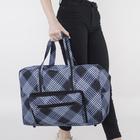 Сумка дорожная, отдел на молнии, 3 наружных кармана, длинный ремень, цвет чёрный/синий