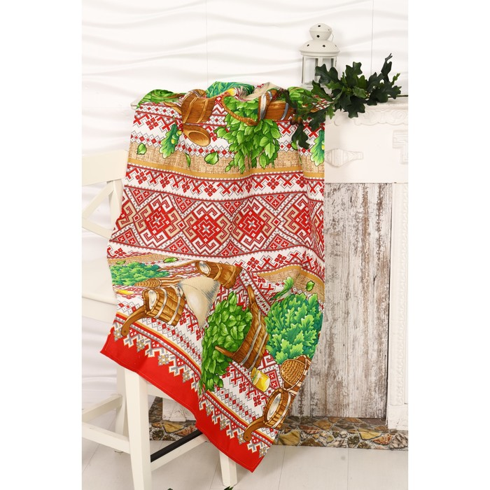 Вафельное полотенце Русска баня 80х150 см, разноцветный, хлопок 100%, 160г/м2