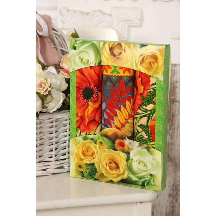 Набор полотенец вафельных Маки 50х60 см 3 шт