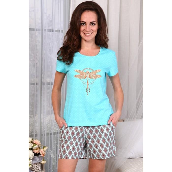 Комплект женский (футболка, шорты), цвет голубой, р-р 46