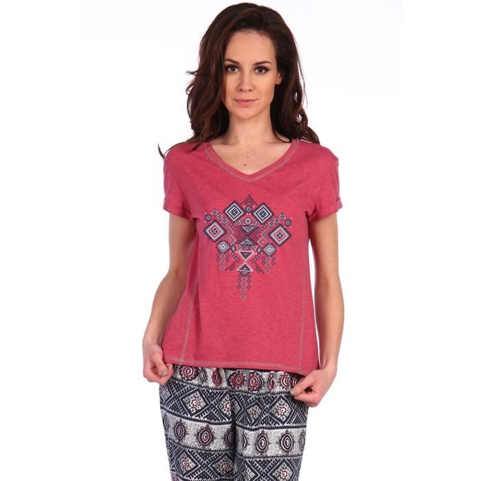 Комплект женский (футболка, брюки), цвет бордовый, р-р 46