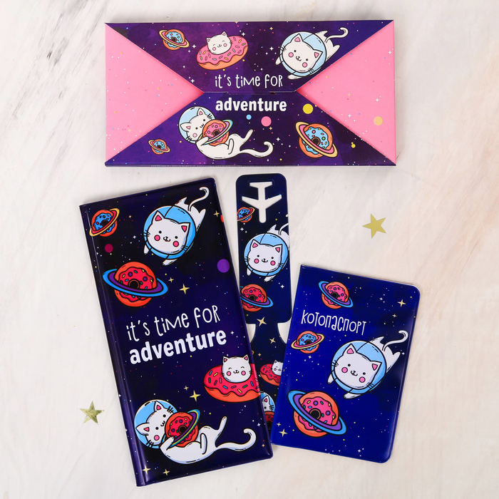 """Набор """"It's time for adventure"""", туристический конверт, обложка на паспорт, бирка на чемодан   40236 - фото 4638262"""