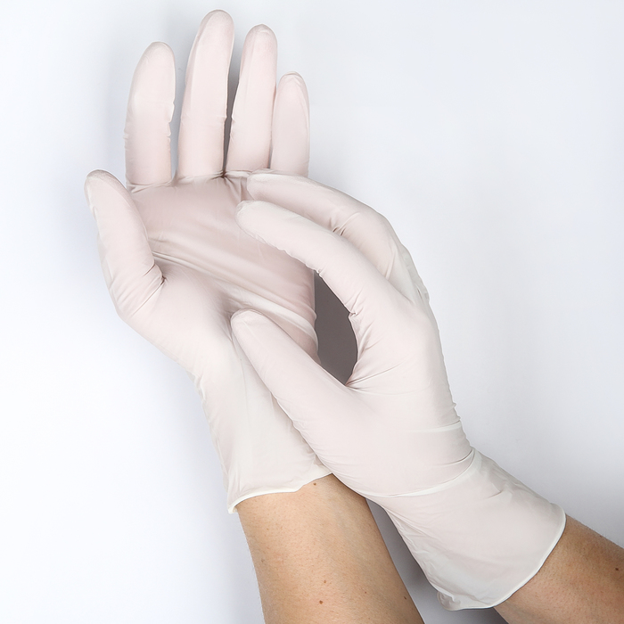 Перчатки нитриловые неопудренные, размер L White Atlas, 100 шт/уп, цвет белый
