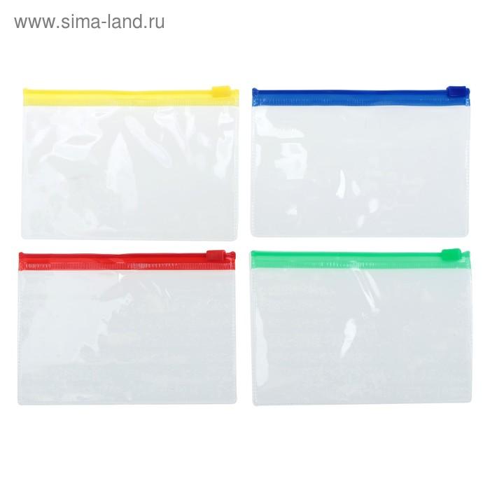 Папка-конверт на молнии, формат А7+, 200 мкр, прозрачная молния, 8.5х13 см