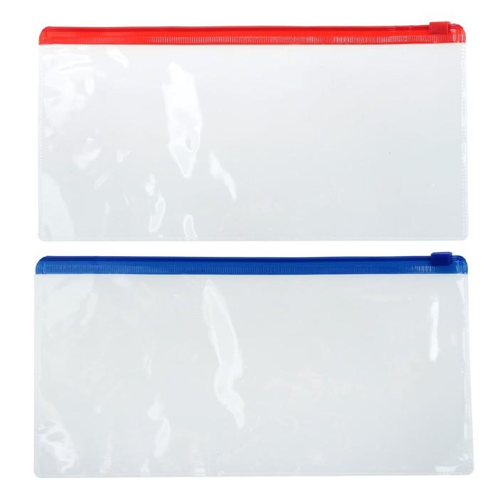 Папка-конверт на молнии А65 прозрачная, 200 мкр