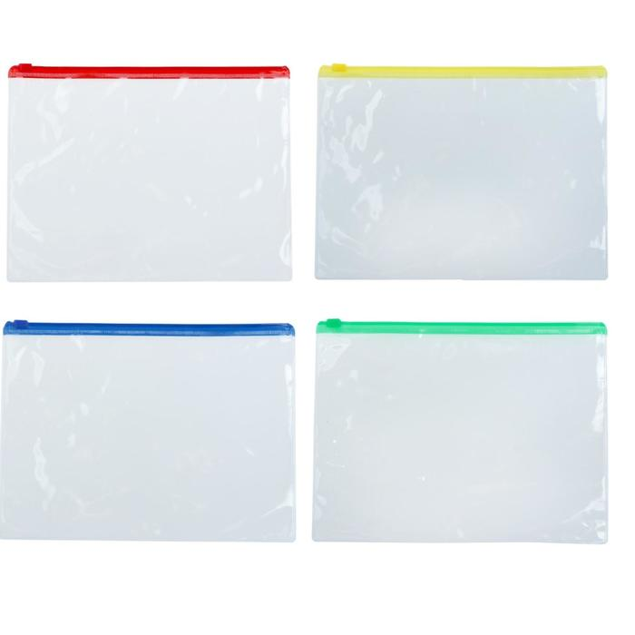 Папка-конверт на молнии А5, прозрачная, 120 микрон