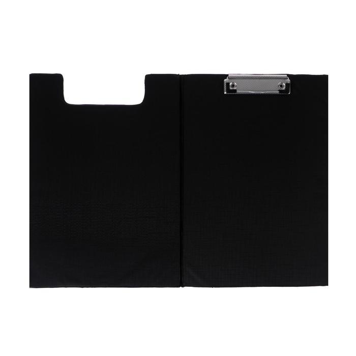 Планшет-папка с прижимом, формат А4, ПВХ, чёрная - фото 415604555