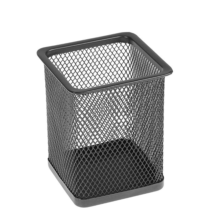Стакан для ручек, квадратный, чёрная сетка