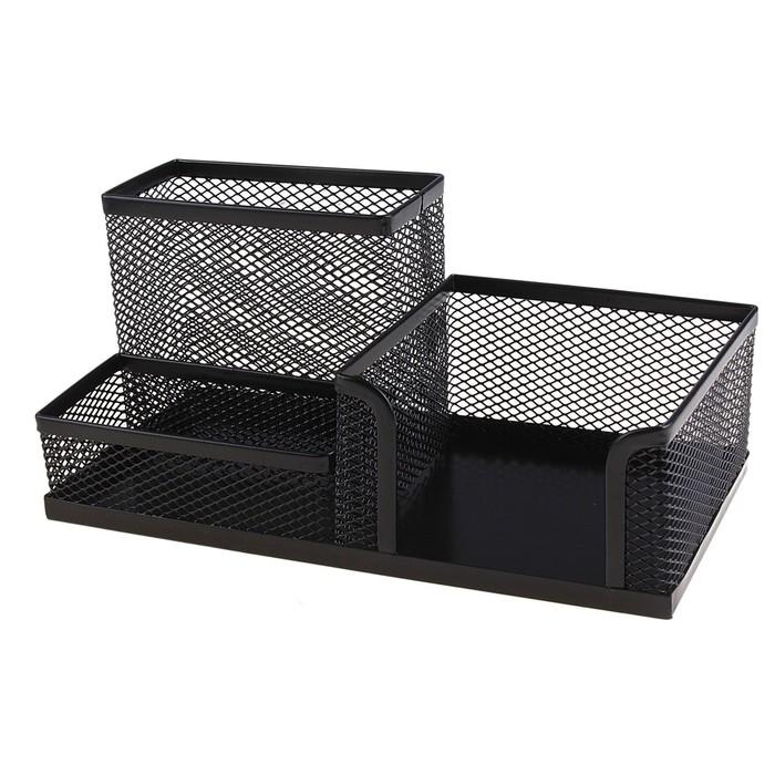 Подставка для канцелярских мелочей (3 отделения, черная сетка)